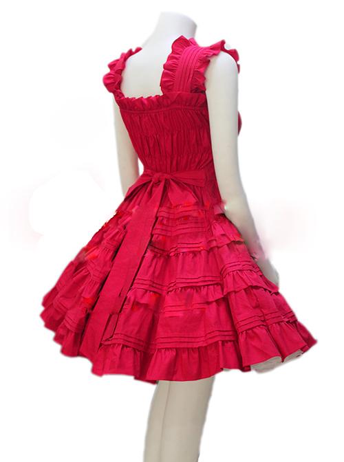 Red Sleeveless Ruffles Classic Lolita Dress