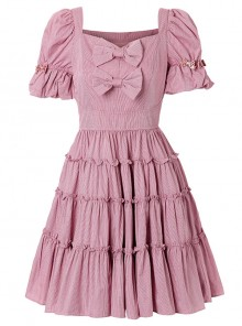 Retro Short Sleeves High Waist Classic Lolita Dress