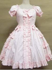 High Waist Ruffles Puff Sleeves Bowknot Sweet Lolita Dress