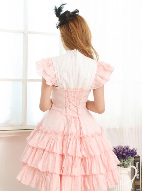 Pink Sleeveless Ruffle Sweet Lolita Dress