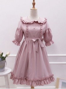 Cute Ruffles Doll Collar Short Sleeves Classic Lolita Dress