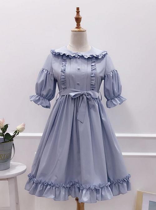 Cute Ruffles Doll Collar Short Sleeves Classic Lolita Dress