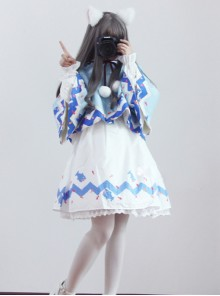 Lovely Shark Series White Long Sleeves Sweet Lolita Dress With Shark Shawl