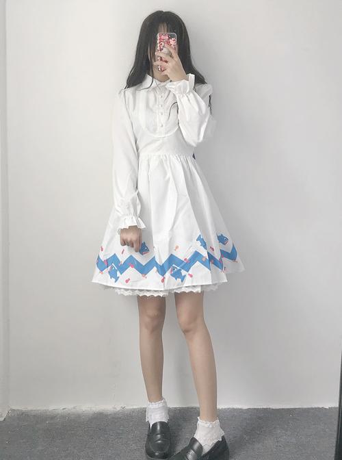 Lovely Shark Series White Long Sleeves Sweet Lolita Dress With Shark Shawl