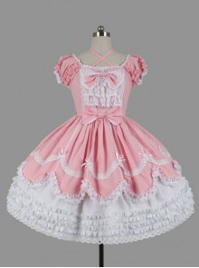 Cotton Bowknot Ruffles Short Sleeves Sweet Lolita Dress