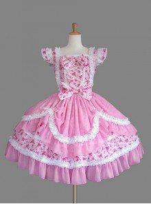 Pink Cotton Sweet Lolita Flying Sleeve Dress