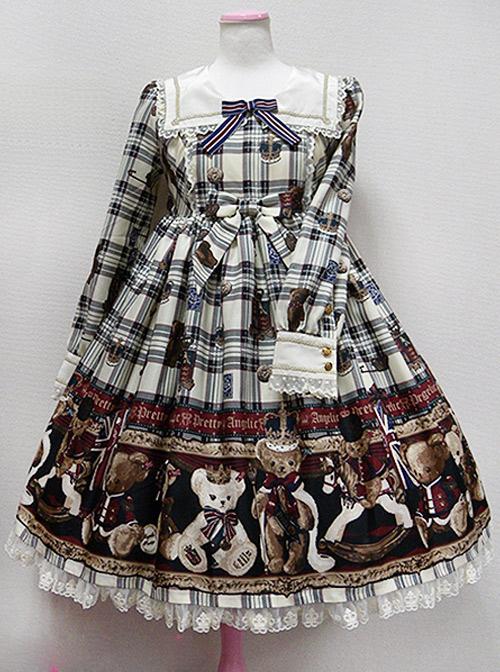 Teddy Bear Printing Bows Sweet Lolita Long Sleeve Dress