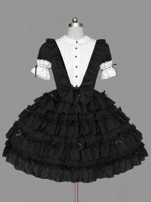 Black And White Lace Elegant Cotton Classic Lolita Dress