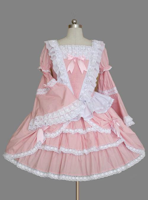 Pink Long Sleeve Lace Ruffles Classic Lolita Dress