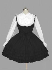 Black And White Long Sleeves Cotton Classic Lolita Dress