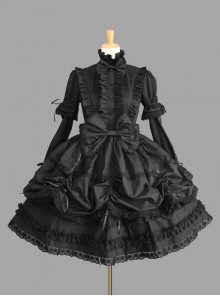 Black Standing Collar Bowknot Gothic Lolita Long Sleeve Dress