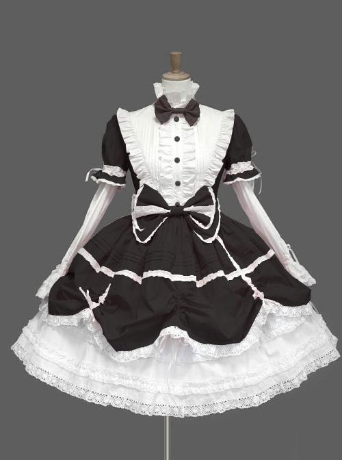 Black Standing Collar Bowknot Gothic Lolita Long Sleeve Dress