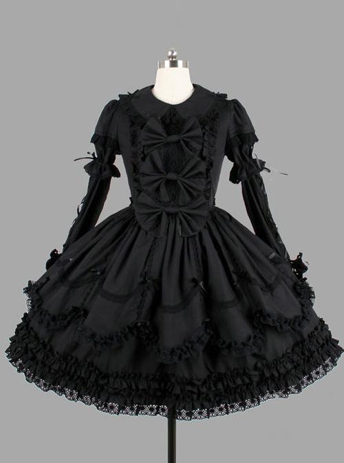 Black Elegant Bows Cotton Gothic Lolita Long Sleeve Dress