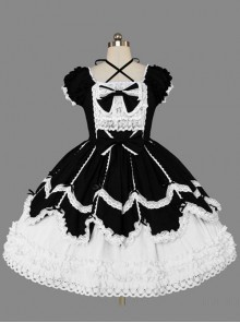 Black And White Cotton Elegant Gothic Lolita Short Sleeves Dress