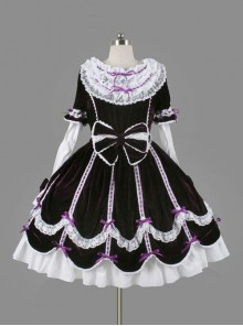 Black Cotton Cute Bowknot Sweet Lolita Long Sleeve Dress