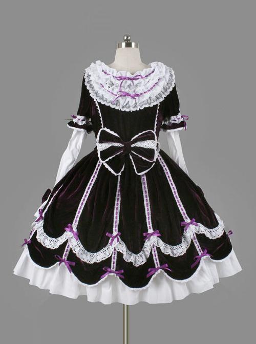 Black Cotton Cute Bowknot Sweet Lolita Long Sleeve Dress