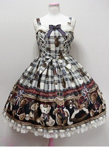 Teddy Bear Printing Bows Sweet Lolita Sling Dress