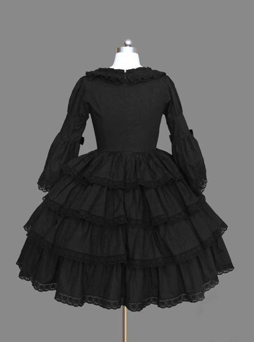 Black Multi-storey Lace Cotton Gothic Lolita Dress