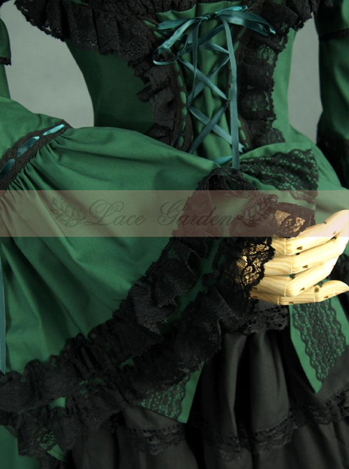 Victorian Retro Green And Black Lace Short Sleeves Classic Lolita Dress