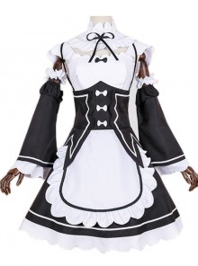 Black Cosplay Maid Costume Sweet Lolita Dress