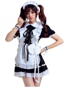 Black Cosplay Maid Costume Maid Dress Set