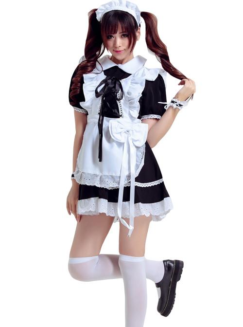 Black Cosplay Maid Costume Maid Dress Set