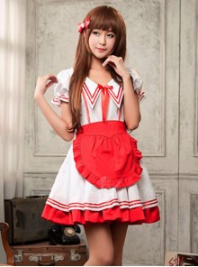 Red And White Sexy Maid costume