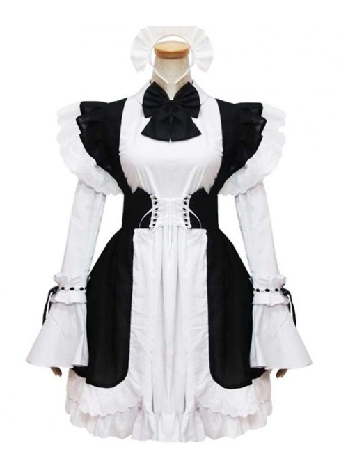 Black And White Short Sleeves Cute Cosplay Maid Costume