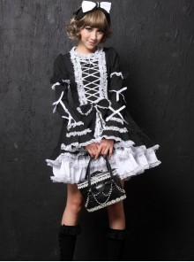 Black Long Sleeves Bowknot White Lace Sweet Lolita Dress