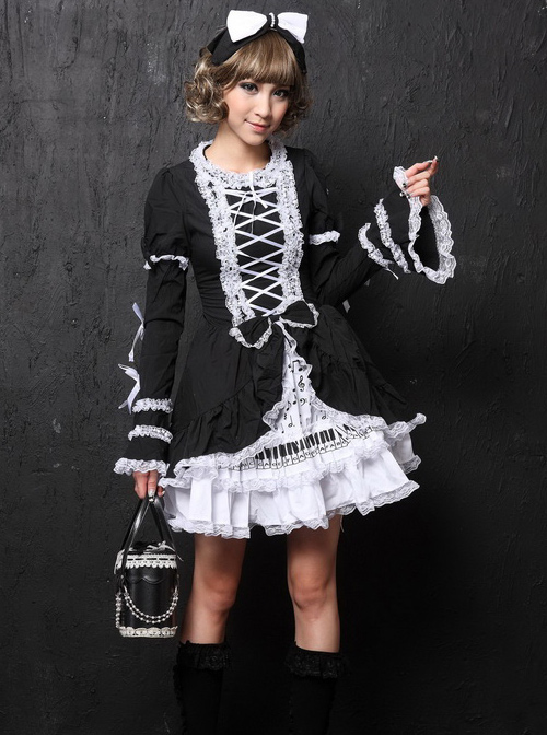 Black Long Sleeves Bowknot White Lace Sweet Lolita Dress