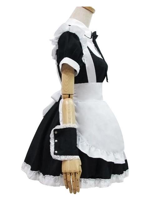 Long Sleeves Cotton Cosplay Maid Costume Sweet Lolita Dress Set