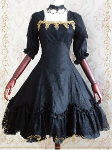Elegant Black Jacquard Classic Lolita Half Sleeve Dress