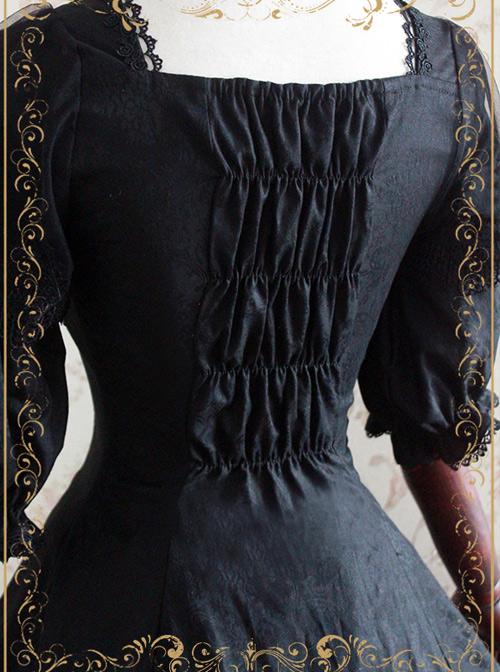 Elegant Black Jacquard Classic Lolita Half Sleeve Dress