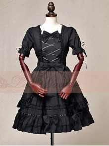 Black Short Sleeves Cotton Bow Gothic Lolita Dress