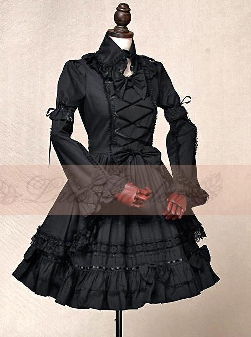 Black Short Sleeves Cotton Bow Gothic Lolita Dress