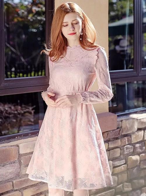 Stand Collar High Waist Lace Long Sleeve A-line Dress