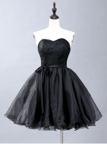 Black Lace Strapless Evening Dress