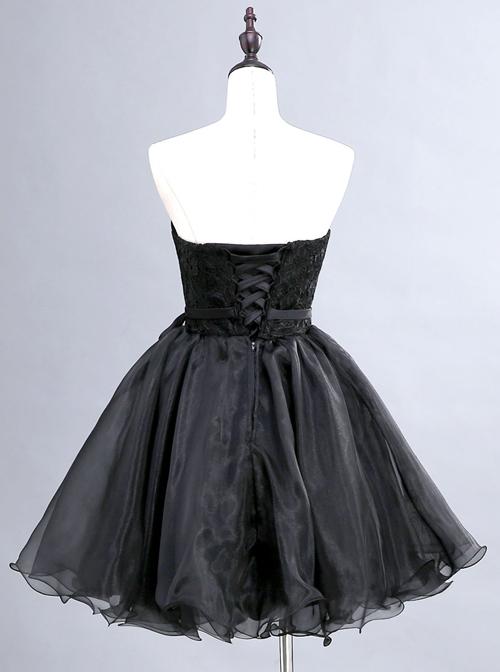Black Lace Strapless Evening Dress
