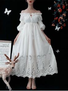 White Strapless Ruffles Classic Lolita Half Sleeve Dress