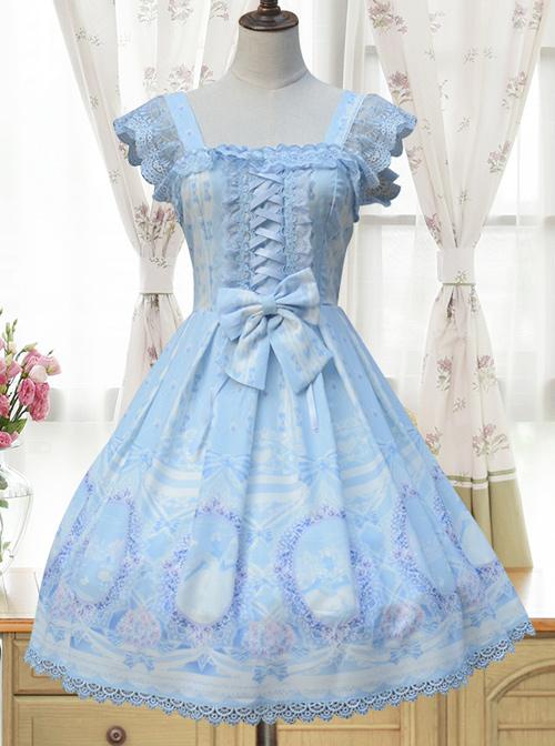 Alice Little Red Cap Series Printing Retro Slim Classic Lolita Sling Dress