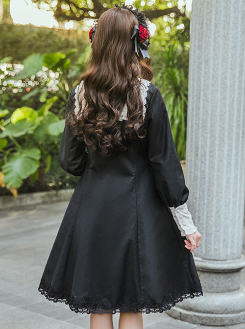 Little Stand Collar Concise Gothic Lolita Long Sleeve Dress
