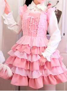 Pink Ruffles Cake Dress Slim Sweet Lolita Dress