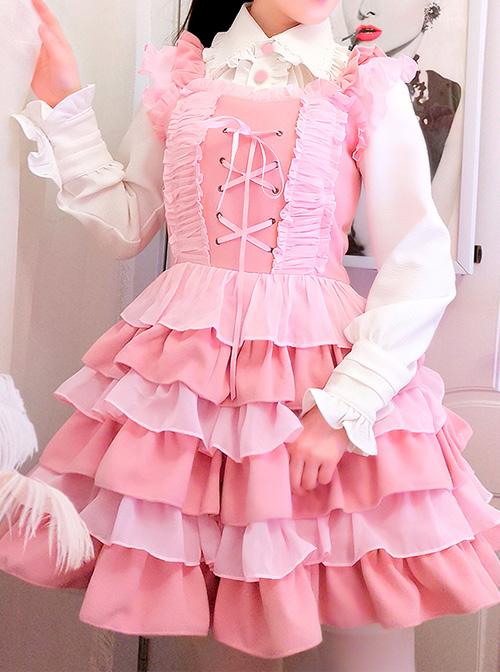 Pink Ruffles Cake Dress Slim Sweet Lolita Dress