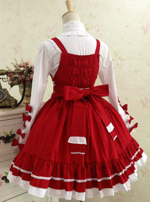 Red And White Lace Bowknot Sweet Lolita Dress Set