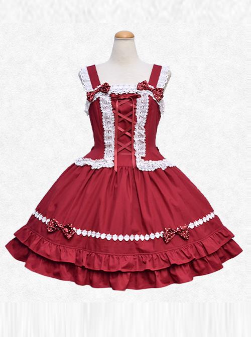 Strawberry Drops Series Red Sweet Lolita Sling Dress