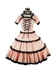 Pink Cute Bind Strap Short Sleeve Sweet Lolita Dress
