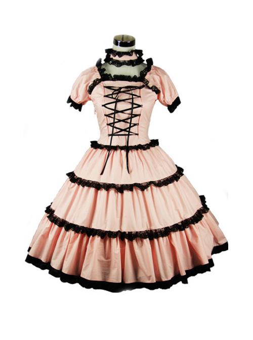 Pink Cute Bind Strap Short Sleeve Sweet Lolita Dress