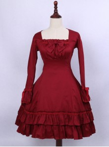 Retro Red Bowknot Ruffles Classic Lolita Long Sleeve Dress