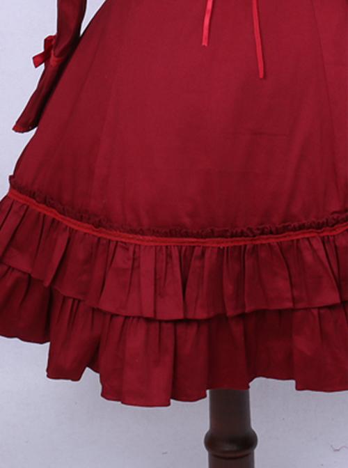 Retro Red Bowknot Ruffles Classic Lolita Long Sleeve Dress