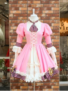 Card Captor Sakura Pink-white Dress Cosplay Costume Sweet Lolita Dress Set